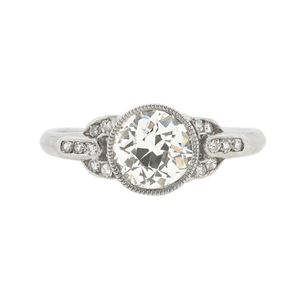 Art Deco Platinum Diamond Engagement Ring 1.18center