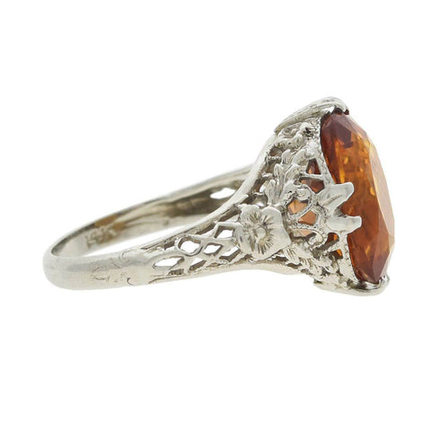 Art Deco 14kt Gold Citrine Filigree Ring 6ctw