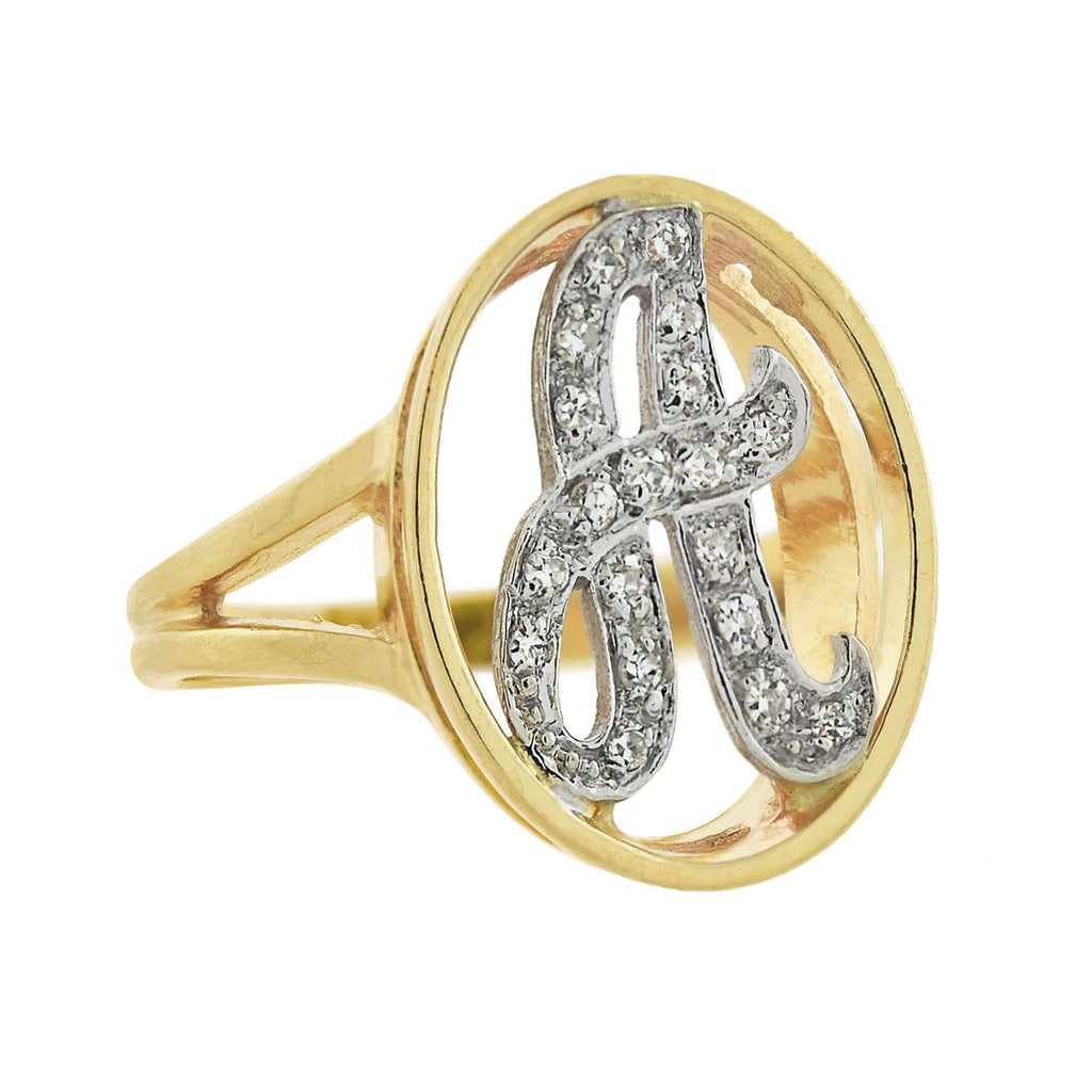 "Vintage 14kt Yellow + White Gold Diamond Letter ""A"" Ring"