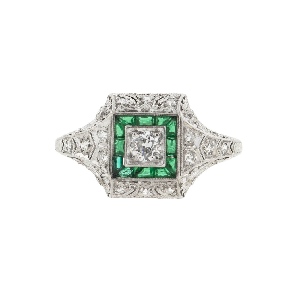 Art Deco Platinum Diamond + French Cut Emerald Engagement Ring 0.20ct center