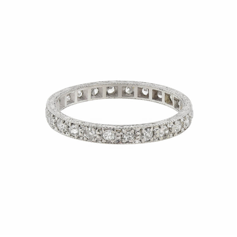 Estate Brushed Platinum Diamond Eternity Band Ring 0.50ctw