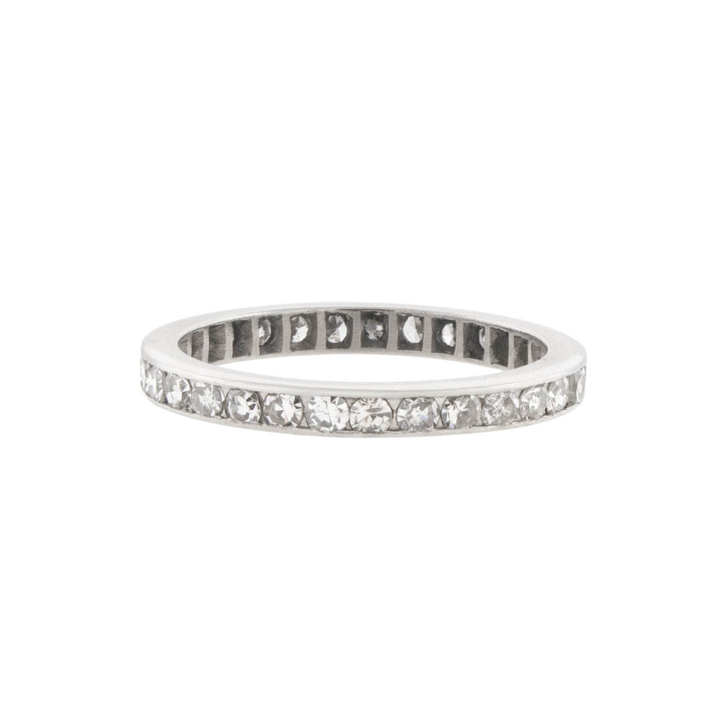 Art Deco Platinum Full Cut Diamond Eternity Band 0.50ctw