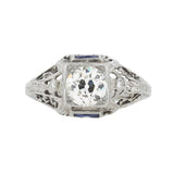 Art Deco Platinum Diamond + French Cut Sapphire Engagement Ring 0.85ct center