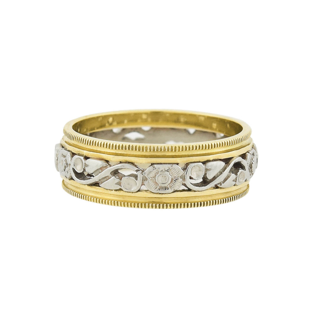 Retro 14kt Yellow + White Gold Mixed Metals Carved Floral Band