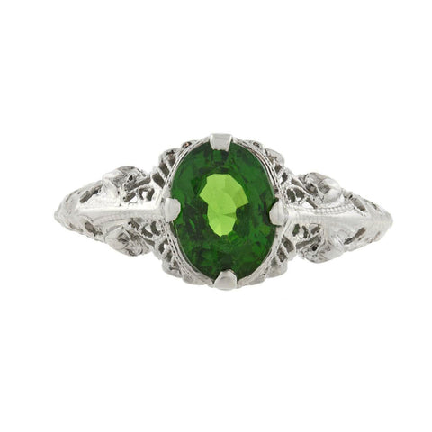 Art Deco Platinum Tsavorite Garnet Filigree Ring 1ctw