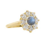 Retro 18kt Old Mine Cut Diamond + Rose Cut Moonstone Cluster Ring