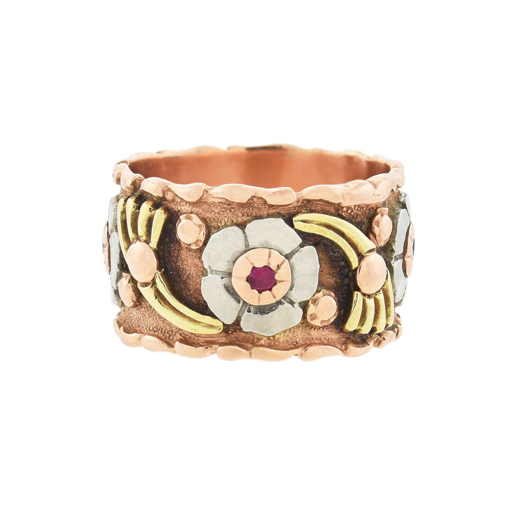 Retro 14kt Mixed Metals + Ruby Wide Floral Band Ring