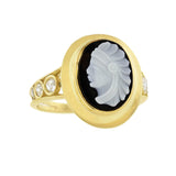 Edwardian 18kt Sardonyx + Diamond Native American Cameo Ring