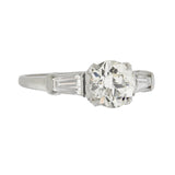 Retro Platinum Diamond Engagement Ring 0.99ct center