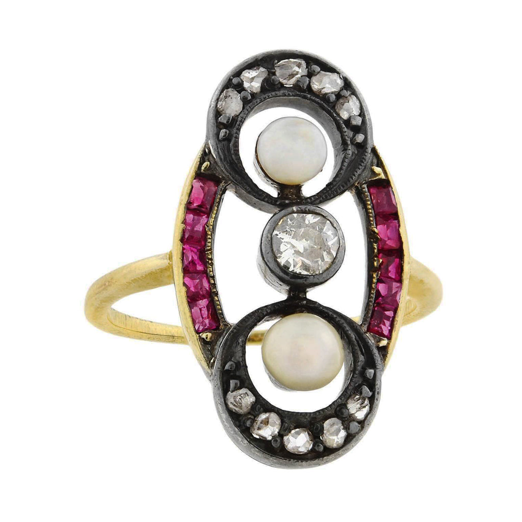 Victorian 14kt/Sterling Diamond, Ruby + Pearl Ring