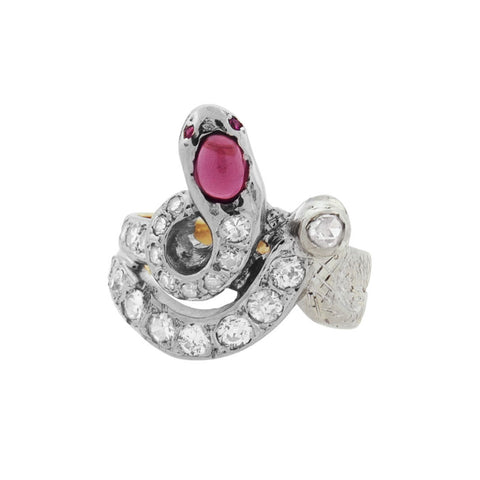 Edwardian 14kt/Platinum Diamond + Ruby Snake Ring