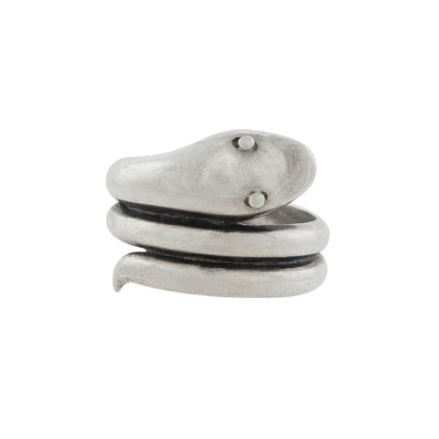 Victorian Sterling Silver Coiled Snake Ring