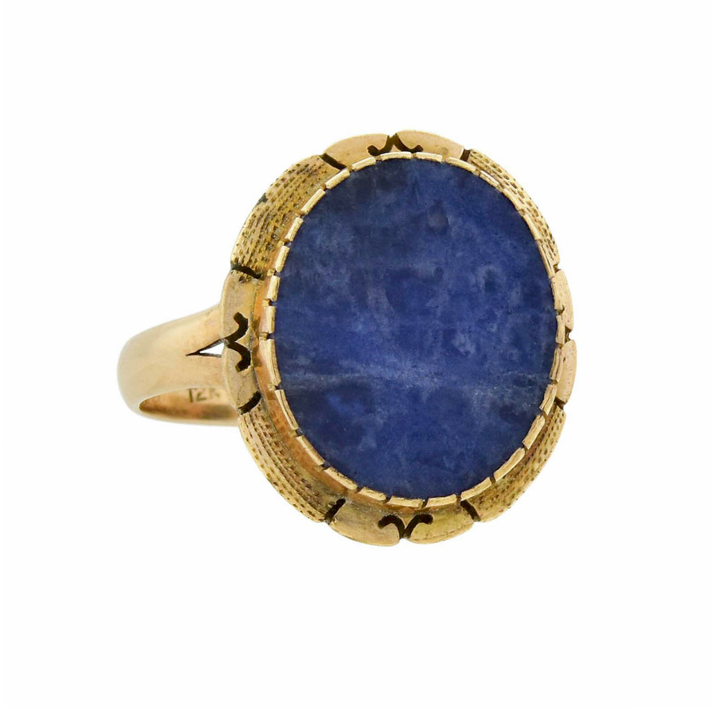 Vintage 12kt Yellow Gold Sodalite Plaque Ring