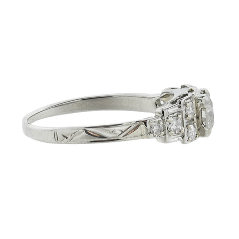"Art Deco 18kt Diamond ""Step Up"" Engagement Ring 0.47ct center"
