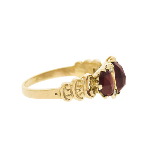 Victorian Style 14kt Faceted Garnet + Diamond 3 Stone Ring