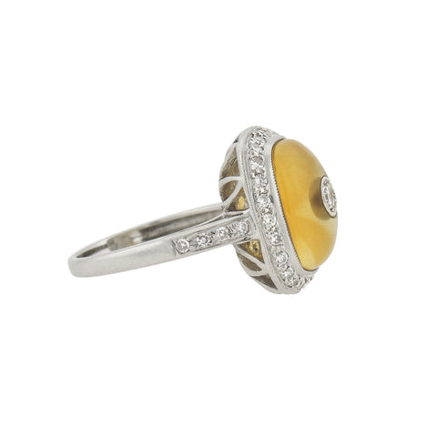 Estate 18kt Carved Yellow Agate + Inlaid Diamond Ring 0.50ctw
