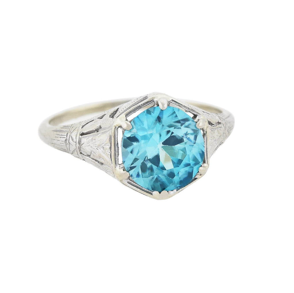 Art Deco 14kt Natural Blue Zircon Filigree Ring 2ctw