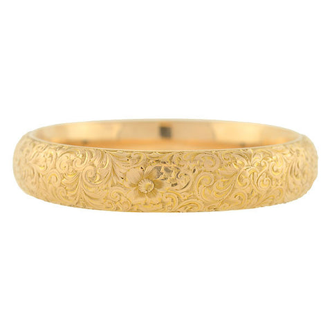 RIKER BROTHERS Art Nouveau 14kt Etched Bangle Bracelet