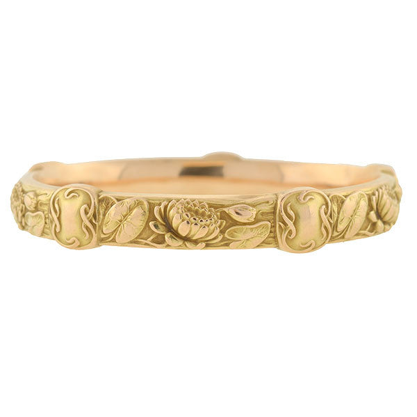 RIKER Art Nouveau 14kt Lily Pad & Flower Bangle Bracelet