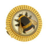 Victorian 18kt Essex Reverse Carved Crystal Bumblebee Pin