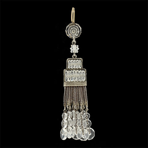 Art Deco Silver/14kt Rock Quartz Crystal Chandelier Earrings
