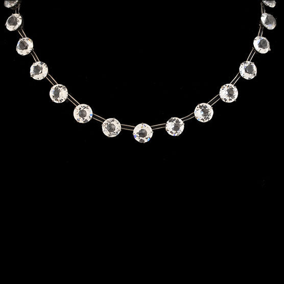 Art Deco Sterling Crystal Link Necklace 14.5""