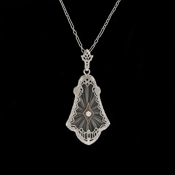 Art Deco 14kt Rock Quartz Crystal + Diamond Necklace