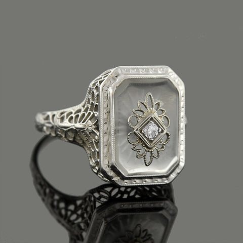 Art Deco 14kt Rock Quartz Crystal Diamond Filigree Ring