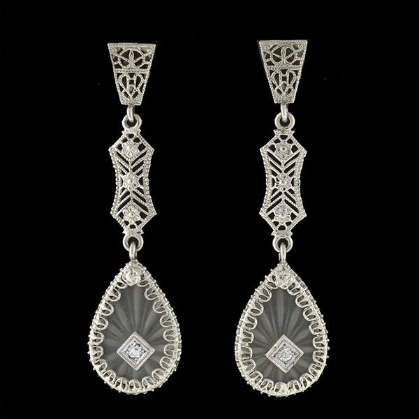 Art Deco 14kt Rock Quartz Crystal & Diamond Filigree Teardrop Earrings