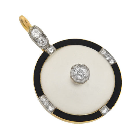 Art Deco 14kt Rock Quartz Crystal Diamond & Enamel Pendant