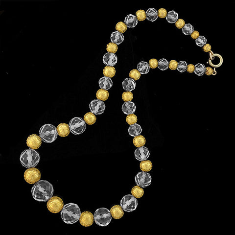 Art Deco 14kt Etruscan & Rock Quartz Crystal Bead Necklace