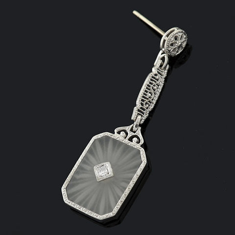 Art Deco 14kt Rock Quartz Crystal & Diamond Filigree Earrings