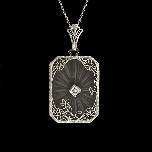 Art Deco 14kt Rock Quartz & Diamond Filigree Necklace