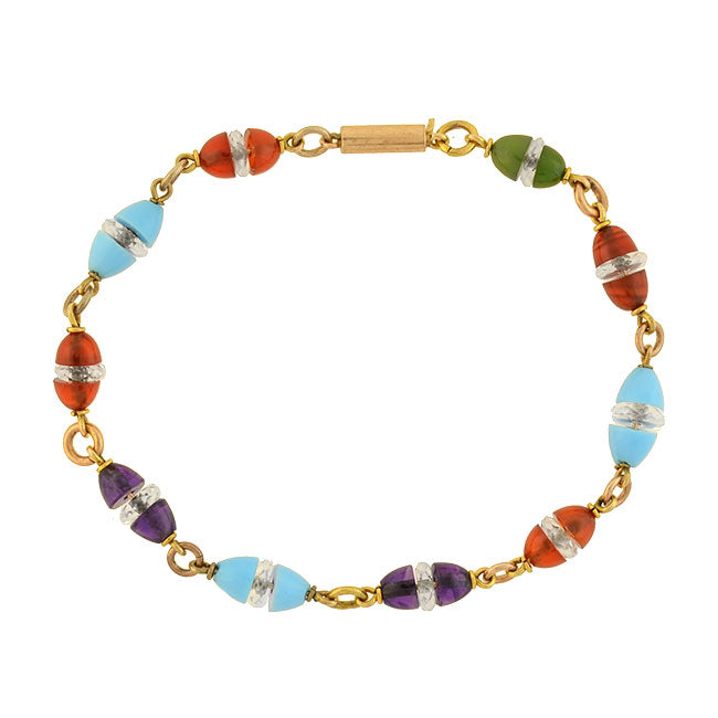 Art Deco 14kt Carnelian, Amethyst, Rock Quartz & Glass Bead Bracelet