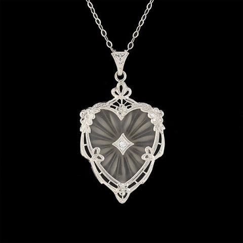 Art Deco 14kt Heart-Shaped Carved Rock Crystal Diamond Pendant Necklace