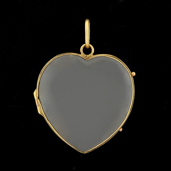 Victorian Large 15kt Rock Quartz Crystal Heart Locket