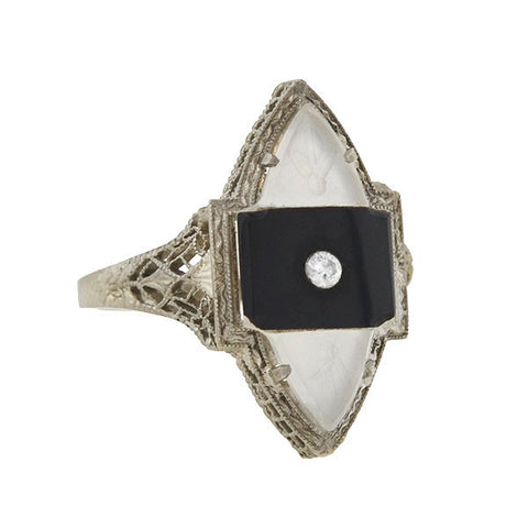 Art Deco 14kt Rock Quartz, Onyx & Diamond Filigree Navette Ring