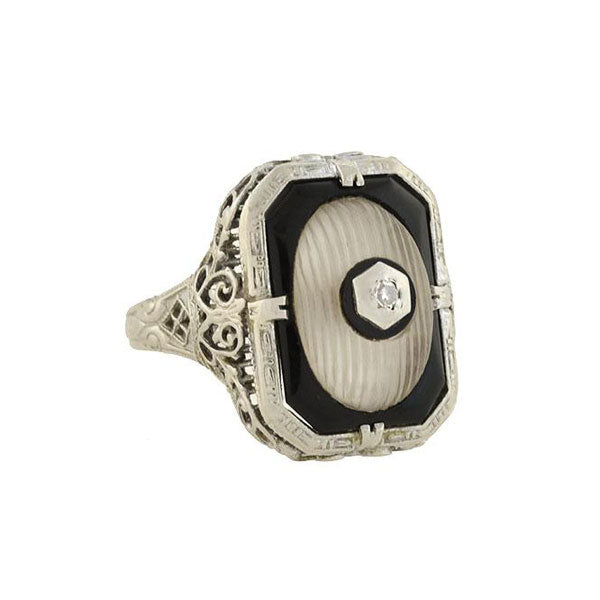 Art Deco 14kt Rock Quartz Crystal, Onyx & Diamond Ring