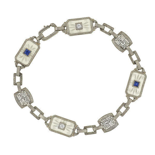 Art Deco 14kt Rock Crystal Sapphire & Diamond Bracelet