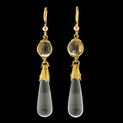 Victorian 14kt Rock Quartz Crystal Teardrop Earrings