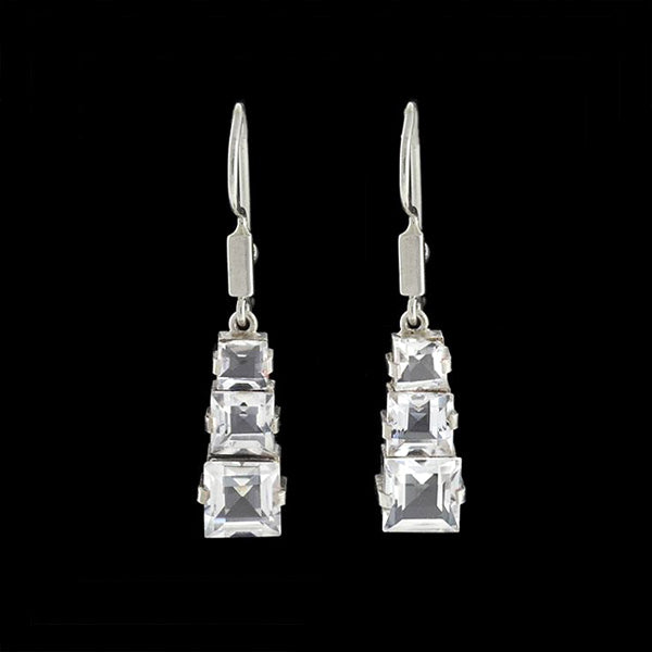 Retro Sterling Stacked Rock Quartz Crystal Earrings