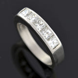 Vintage Platinum Radiant Cut Diamond Half Band 0.90ctw
