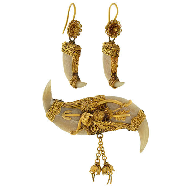 Victorian Raj 18kt Tiger Claw Earring & Pin Set w/Bird Motif