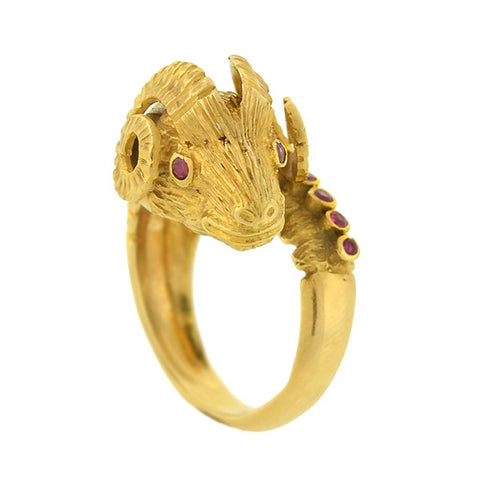 LALAOUNIS Vintage 18kt Ruby & Diamond Ram's Head Ring