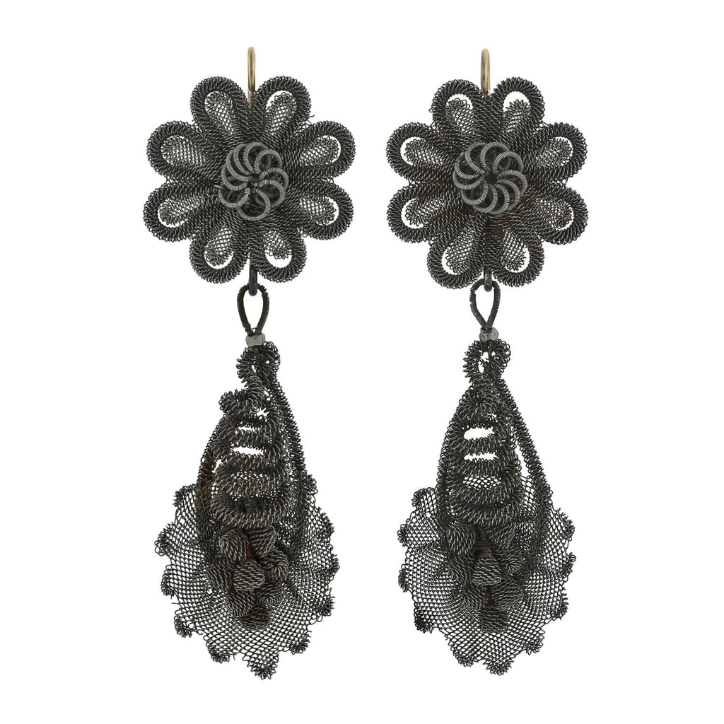 Georgian Rare 14kt Berlin Iron Silesian Wirework Earrings