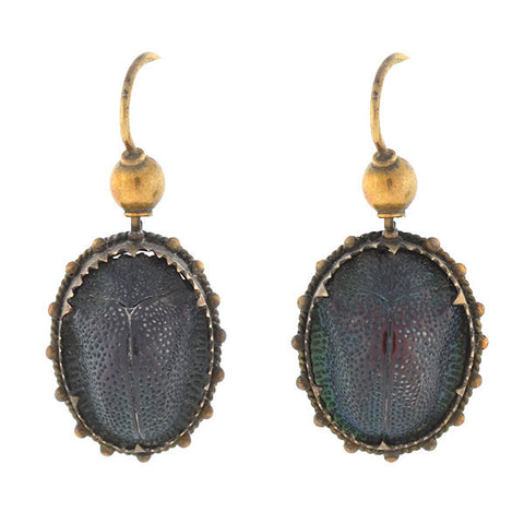 Victorian 14kt Gold & Real Scarab Beetle Earrings