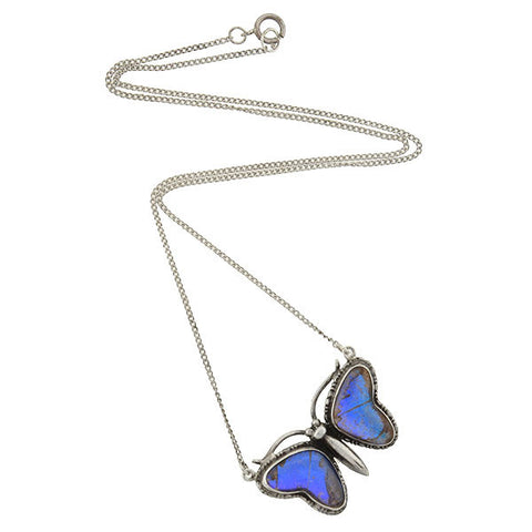 Victorian Silver & Real Butterfly Wing Necklace