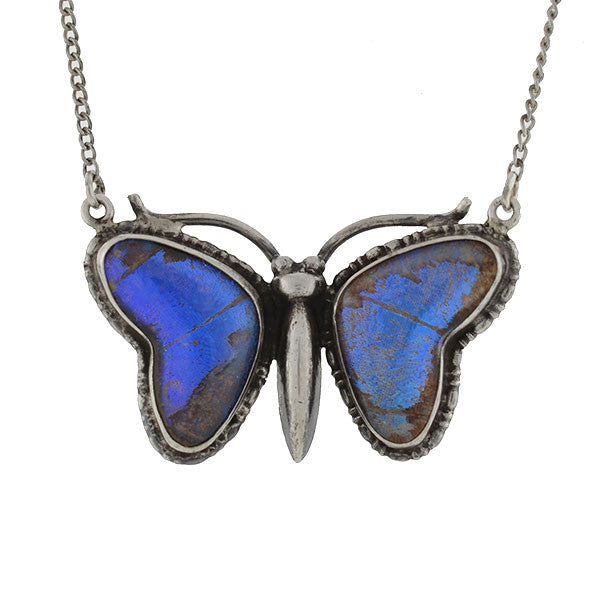 Art Deco Silver & Real Butterfly Wing Necklace