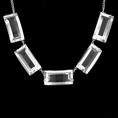 Vintage Sterling & Rock Quartz Crystal Necklace 15.25""