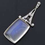 Art Deco Large Platinum Moonstone Cabochon Diamond Pendant